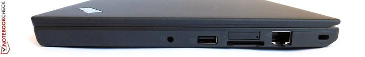 справа: 3.5-мм комбинированный аудиопорт, порт USB 3.0, адаптер карт памяти SD, слот для SIM-карты, порт Ethernet, замок Kensington Lock