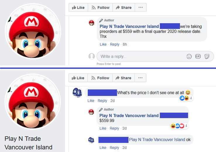 Сообщения из Facebook. (Источник: Facebook/Play N Trade Vancouver Island)