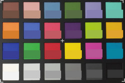 ColorChecker: исходный цвет в нижней половине каждого блока