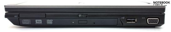 Справа: ExpressCard 34, DVD привод, USB 2.0, VGA