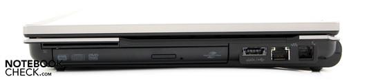 Справа: SmartCard, привод DVD, комбинированный eSATA/USB, LAN, модем
