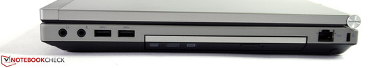 Справа: Аудио, 2x USB 3.0, опт. привод (DVD), LAN, Kensington