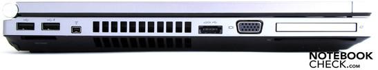 Слева: 2 x USB 2.0, считыватель карт памяти, Firewire, eSATA/USB, VGA,  ExpressCard54