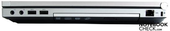 Справа: Аудиоразъемы, 2 x USB 3.0, DVD-привод, RJ45