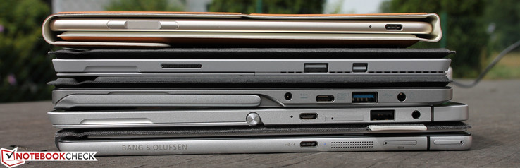 В направлении вниз: Huawei MateBook, Surface Pro 4, Switch Alpha 12, Elite x2 1012, Spectre x2 12