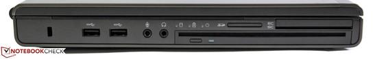 Слева: замок Kensington, 2 порта USB 3.0, аудиоразъемы, оптический привод с щелевой загрузкой, кардридер, SmartCard, ExpressCard 54/34