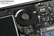 Единственный вентилятор системы охлаждения практически не слышен при работе Mac OS X.