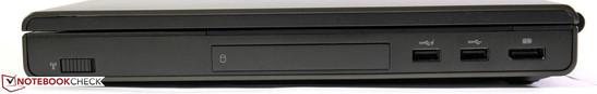 Справа: переключатель Wi-Fi, отсек EasyEject для жестких дисков, 2 порта USB 3.0, видеовыход DisplayPort