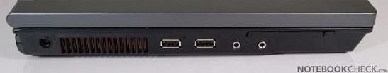 Слева: Kensington Lock, разъем питания, 2x USB, VGA, LAN, модем, HDMI, Firewire