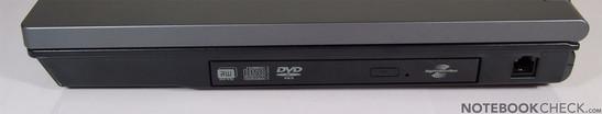 Справа: ExpressCard/54, DVD привод, S-Video, 2x USB, LAN, Kensington Lock