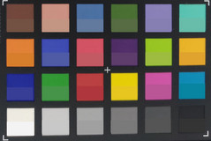 Скриншот ColorChecker. Исходные цвета показаны в нижней части каждого блока.