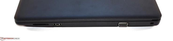Справа: картридер стандарта SD, USB 2.0 Type-A, VGA, слот замка безопасности
